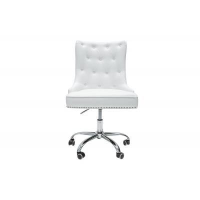 Viktoriánus irodai szék, fehér textilbőr - COSY